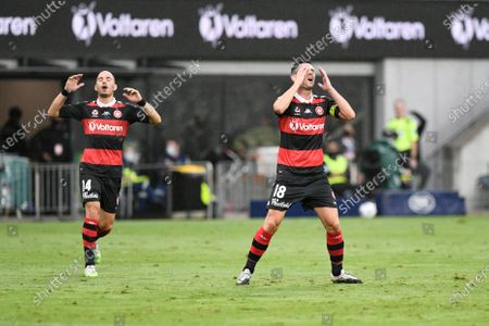 James Troisi and Graham Dorrans of Western Sydney Wanderers frustrated after a missed scoring chance; Bankwest Stadium, Parramatta, New South Wales, Australia; A League Football, Western Sydney Wanderers versus Newcastle Jets.