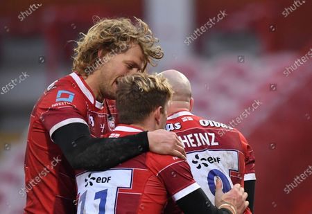Billy Twelvetrees and Ollie Thorley celebrate with Willi Heinz of Gloucester after his try; Kingsholm Stadium, Gloucester, Gloucestershire, England; English Premiership Rugby, Gloucester versus Northampton Saints.
