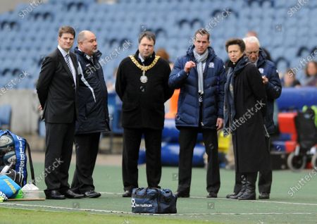 Princess Anne - Scottish Rugby Patron watches the Scotland team train along with (L to R) Domnic MacKay -Scottish Rugby Head of Communications, Mark Dodson - Scottish Rugby CEO, Donald Wilson - Lord Provist of Edinburgh, Chris Paterson - Ex-Scotland rugby internationalist and Donald MacCleod - Scottish Rugby President.