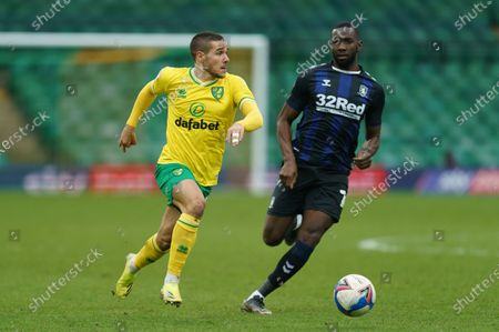 Stock Image of Emi Buendía of Norwich City (17) and Yannick Bolasie of Middlesbrough (14)