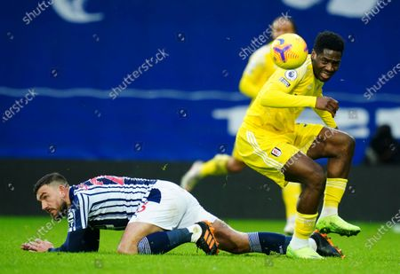 Robert Snodgrass of West Bromwich Albion and Ola Aina of Fulham