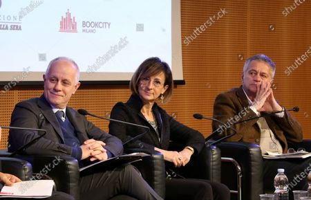 Debate on the film: The Constitutional Court in prisons at the Corriere foundation. Paolo Baratta, Luciano Fontana, Marta Cartabia, Adolfo Ceretti, photo taken on 16 Nov 2019.