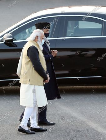 Indian Prime Minister Narendra Modi (L) and and Indian President Ram Nath Kovind arrive to attend the annual Beating Retreat military ceremony at Rajpath, in New Delhi, India, 29 January 2021. Beating Retreat is a tradition in which military bands perform during the closing of Republic Day celebrations.