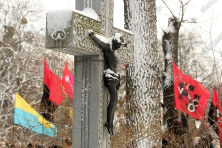 A crucifix is pictured on the Kruty Heroes Remembrance Day, Kyiv, capital of Ukraine. On this day, the country pays tribute to almost 400 soldiers of the Ukrainian People's Republic, mostly students, who sacrificed their lives to stop the advance of the Bolshevik Red Army forces of about 4,000 men commanded by Mikhail Muravyov near the Kruty railway station, 130 kilometres north-east of Kyiv, on January 29, 1918.