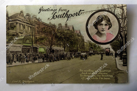 Southport In 1919 Showing The Postcard Girl Of The Times Actress Gladys Cooper.