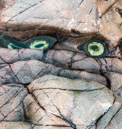Stock Photo of Two rock pools resemble the eyes of a mythical creature.  Viewed from upside down the pools on the shore look as though they belong to an angry troll.  After seeing a friends' online post about the eyes in Teriberka, on the coast of the Barents Sea in Russia, photographer Mike Korostelev travelled all the way from Moscow with his young son to witness the spectacle.