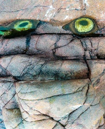Two rock pools resemble the eyes of a mythical creature.  Viewed from upside down the pools on the shore look as though they belong to an angry troll.  After seeing a friends' online post about the eyes in Teriberka, on the coast of the Barents Sea in Russia, photographer Mike Korostelev travelled all the way from Moscow with his young son to witness the spectacle.