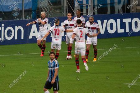 Players of Flamengo celebrates scored goal by Giorgian De Arrascaeta in the 66th minute for 1-3