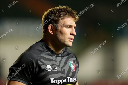 Tom Youngs, captain of Leicester Tigers, warms up before making his 200th appearance for the club