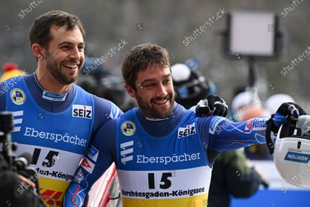Chris Mazdzer (L) and Jayson Terdiman (R) of the USA react during the Doubles competition at the FIL Luge World Championships in Koenigssee, Germany, 30 January 2021.