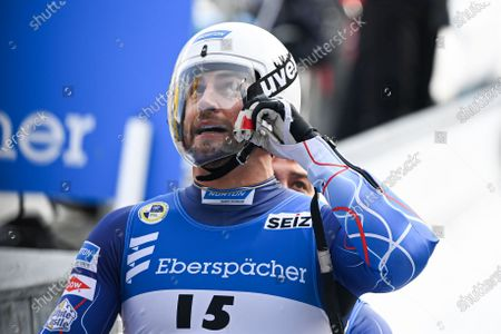 Chris Mazdzer and Jayson Terdiman of the USA react during the Doubles competition at the FIL Luge World Championships in Koenigssee, Germany, 30 January 2021.