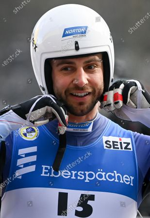 Stock Photo of Chris Mazdzer of the USA reacts during the Doubles competition at the FIL Luge World Championships in Koenigssee, Germany, 30 January 2021.