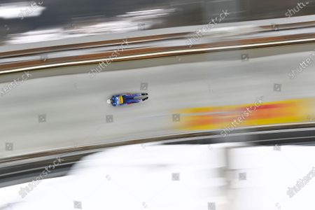 Chris Mazdzer of the USA in action during the men's Singles competition of the FIL Luge World Championships in Koenigssee, Germany, 30 January 2021.