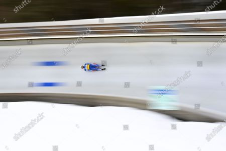 Stock Image of Chris Mazdzer of the USA in action during the men's Singles competition of the FIL Luge World Championships in Koenigssee, Germany, 30 January 2021.