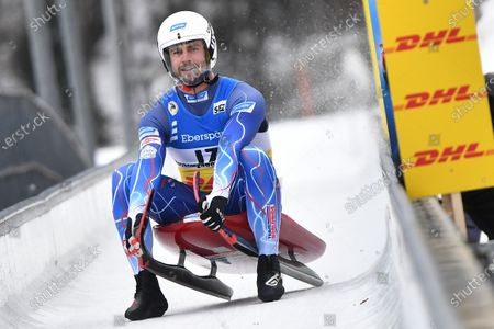 Stock Picture of Chris Mazdzer of the USA reacts during the men's Singles competition of the FIL Luge World Championships in Koenigssee, Germany, 30 January 2021.