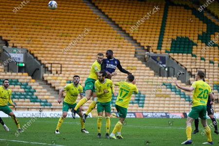 Yannick Bolasie (14) of Middlesbrough heads towards goal during the EFL Sky Bet Championship match between Norwich City and Middlesbrough at Carrow Road, Norwich