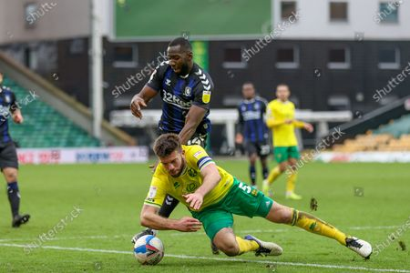 Yannick Bolasie (14) of Middlesbrough battles with Grant Hanley (5) of Norwich City during the EFL Sky Bet Championship match between Norwich City and Middlesbrough at Carrow Road, Norwich