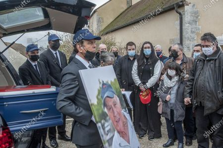 Funeral for stuntman Remy Julienne in Cepoy who died on January 21 from Covid-19 at the age of 90.