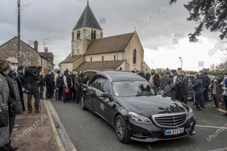 Stock Image of Funeral for stuntman Remy Julienne in Cepoy who died on January 21 from Covid-19 at the age of 90.