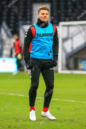 Chris Martin (7) of Bristol City in the warm up before the EFL Sky Bet Championship match between Derby County and Bristol City at the Pride Park, Derby