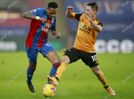 Nathaniel Clyne (L) of Crystal Palace in action against Daniel Podence (R) of Wolverhampton during the English Premier League soccer match between Crystal Palace and Wolverhampton Wanderers in London, Britain, 30 January 2021.