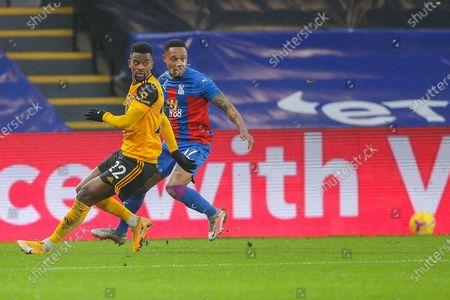 Wolverhampton Wanderers defender Nélson Semedo (22) and Crystal Palace defender Nathaniel Clyne (17) during the Premier League match between Crystal Palace and Wolverhampton Wanderers at Selhurst Park, London