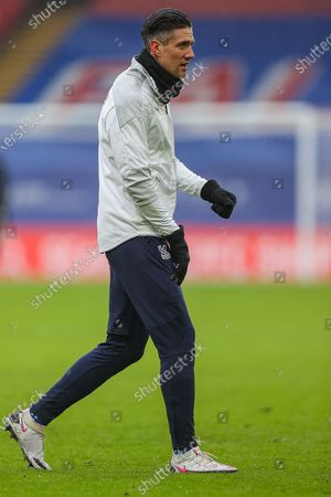 Crystal Palace defender Martin Kelly (34) warming up prior to the Premier League match between Crystal Palace and Wolverhampton Wanderers at Selhurst Park, London