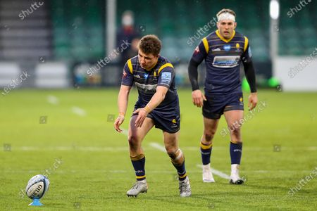 Stock Picture of Duncan Weir, making his 50th appearance for Worcester Warriors, takes a penalty kick