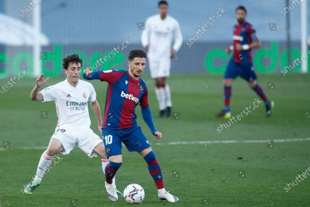 Enis Bardhi of Levante and Alvaro Odriozola of Real Madrid in action during the spanish league, La Liga Santander, football match played between Real Madrid and Levante UD at Ciudad Deportiva Real Madrid on january 30, 2021, in Valdebebas, Madrid, Spain.
