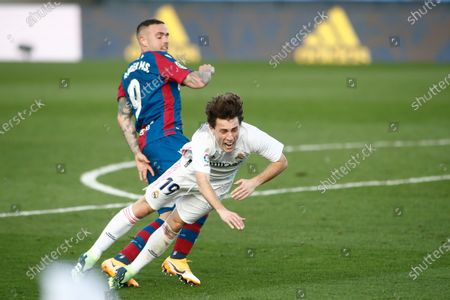Alvaro Odriozola of Real Madrid and Roger Marti of Levante in action during the spanish league, La Liga Santander, football match played between Real Madrid and Levante UD at Ciudad Deportiva Real Madrid on january 30, 2021, in Valdebebas, Madrid, Spain.