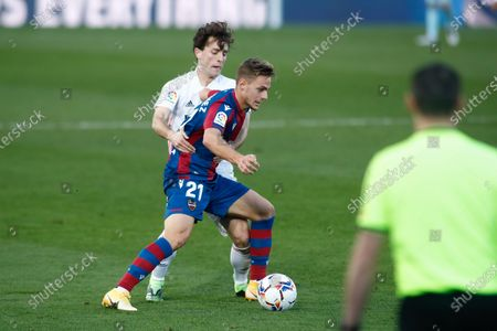 Dani Gomez of Levante and Alvaro Odriozola of Real Madrid in action during the spanish league, La Liga Santander, football match played between Real Madrid and Levante UD at Ciudad Deportiva Real Madrid on january 30, 2021, in Valdebebas, Madrid, Spain.