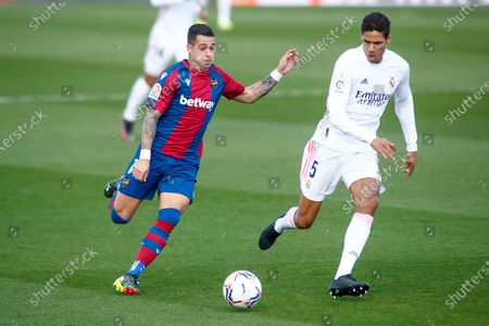 Sergio Leon of Levante and Raphael Varane of Real Madrid in action during the spanish league, La Liga Santander, football match played between Real Madrid and Levante UD at Ciudad Deportiva Real Madrid on january 30, 2021, in Valdebebas, Madrid, Spain.