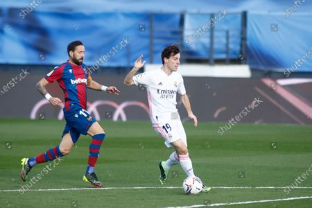 Alvaro Odriozola of Real Madrid and Jose Luis Morales of Levante in action during the spanish league, La Liga Santander, football match played between Real Madrid and Levante UD at Ciudad Deportiva Real Madrid on january 30, 2021, in Valdebebas, Madrid, Spain.