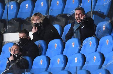 Juventus' Vice President Pavel  Nedved (up, L) and Juventus' managing director Fabio Paratici (R) react during the Italian Serie A soccer match between UC Sampdoria and Juventus Fc at the Luigi Ferraris stadium in Genoa, Italy, 30 January 2021.
