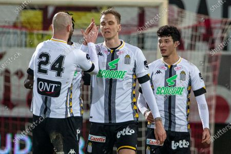 Charleroi's Lukasz Teodorczyk celebrates after scoring during a soccer match between KV Kortrijk and Sporting Charleroi, Saturday 30 January 2021 in Kortrijk, on day 23 of the 'Jupiler Pro League' first division of the Belgian championship.