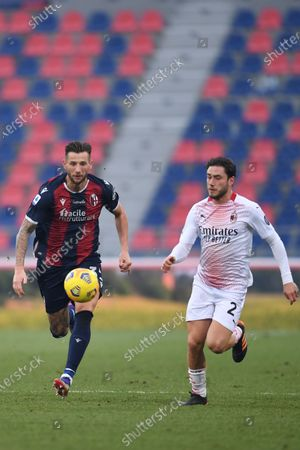 """Mitchell Dijks (Bologna)Davide Calabria (Milan)       during the Italian """"Serie A  match between Bologna 1-2 Milan  at  Renato Dall Ara Stadium  on January 30 , 2021 in Bologna, Italy."""