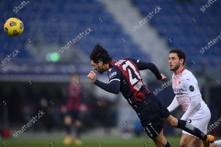 "Roberto Soriano (Bologna)Davide Calabria (Milan)       during the Italian ""Serie A  match between Bologna 1-2 Milan  at  Renato Dall Ara Stadium  on January 30 , 2021 in Bologna, Italy."