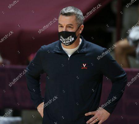 Stock Image of Virginia head coach Tony Bennett during the first half of an NCAA college basketball game, in Blacksburg, Va