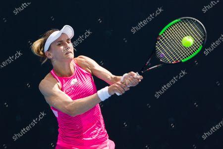 Lesia TSURENKO (UKR) in action against Aliaksandra SASNOVICH (BLR) In a first round match of the Gippsland Trophy Women's Singles tournament prior to the Australian Open Grand Slam tournament in Melbourne, Australia. SASNOVICH won 36 64 64