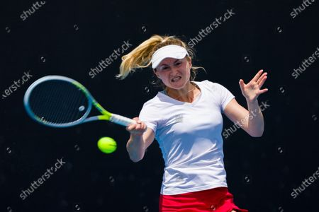 Aliaksandra SASNOVICH (BLR) in action against Lesia TSURENKO (UKR) In a first round match of the Gippsland Trophy Women's Singles tournament prior to the Australian Open Grand Slam tournament in Melbourne, Australia. SASNOVICH won 36 64 64