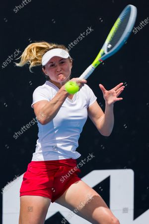 Stock Picture of Aliaksandra SASNOVICH (BLR) in action against Lesia TSURENKO (UKR) In a first round match of the Gippsland Trophy Women's Singles tournament prior to the Australian Open Grand Slam tournament in Melbourne, Australia. SASNOVICH won 36 64 64