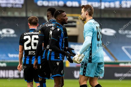 Stock Image of Club's Clinton Mata and Club's goalkeeper Simon Mignolet fight for the ball during a soccer match between Club Brugge and Standard de Liege, Sunday 31 January 2021 in Brugge, on day 23 of the 'Jupiler Pro League' first division of the Belgian championship.