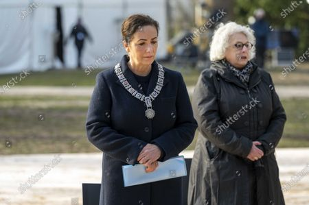 Amsterdam mayor Femke Halsema during the laying of wreaths during the National Holocaust Commemoration in Amsterdam, Netherlands, 31 January 2021. Due to the coronavirus, some parts, including the silent tour, are canceled. There is also no audience at the commemoration.