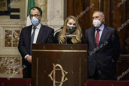 Sandro Ruotolo, Loredana De Petris and Pietro Grasso, of Free and Equal, during a press conference after the meeting with the President of the Italian Chamber of Deputies Fico who has an exploratory mandate to form a new government, in Rome, Italy, 31 January 2021. Consultations are held on Italy's government crisis with the political parties represented in parliament after Premier Conte quit on 26 January as the executive no longer had an absolute majority in the Senate.