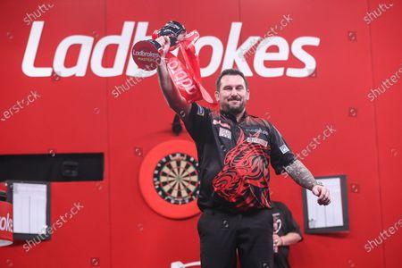 Jonny Clayton wins the Ladbroke Masters beating Mervyn King 11-8 during the PDC Ladbrokes Masters 2021 at Marshall Arena, Milton Keynes