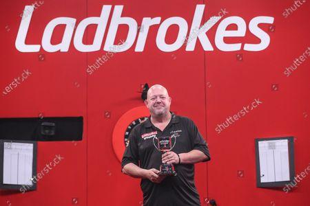 Stock Photo of Ladbrokes Masters runner up Mervyn King during the PDC Ladbrokes Masters 2021 at Marshall Arena, Milton Keynes