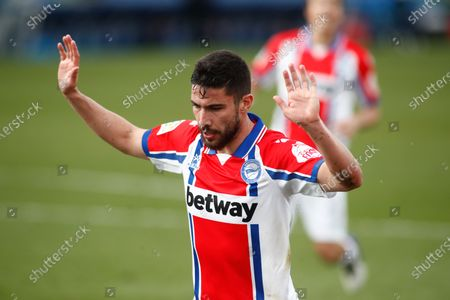 """Alberto Rodriguez """"Tachi"""" of Alaves gestures during the spanish league, La Liga Santander, football match played between Getafe CF and Deportivo Alaves at Coliseum Alfonso Perez on january 31, 2021, in Getafe, Madrid, Spain."""