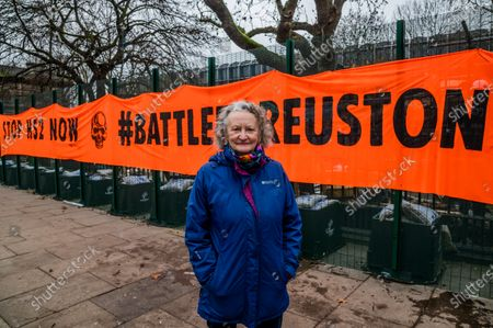 Jenny Jones, Baroness Jones of Moulsecoomb, a member of the Green Party joins supporters who arrive with a banner reading 'Stop HS2 Now, #BattleforEuston' - The anti HS2 Extinction Rebellion camp continues to be cleared (in order to create a temporary parking area) by Bailiffs (from the National Enforcement Team, NET, a subsidiary of High Court Enforcement Group) at Euston Station. All the above ground protesters have been cleared and there now seem to be a pause before the tunnels are dealt with.