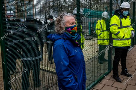 Jenny Jones, Baroness Jones of Moulsecoomb, a member of the Green Party joins supporters and talks to the site manager for the bailiff operation - The anti HS2 Extinction Rebellion camp continues to be cleared (in order to create a temporary parking area) by Bailiffs (from the National Enforcement Team, NET, a subsidiary of High Court Enforcement Group) at Euston Station. All the above ground protesters have been cleared and there now seem to be a pause before the tunnels are dealt with.