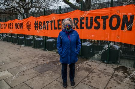 Editorial image of Dame Jenny Jones of the Green Party visits as the anti HS2 Extinction Rebellion camp continues to be cleared by Bailiffs at Euston Station., Euston Station, London, UK - 31 Jan 2021